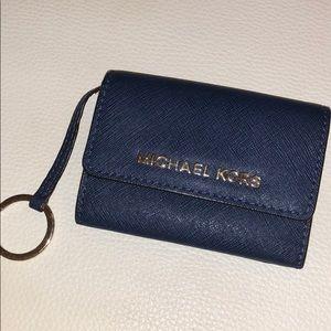 Navy Michael Kors Card Holder/Keychain